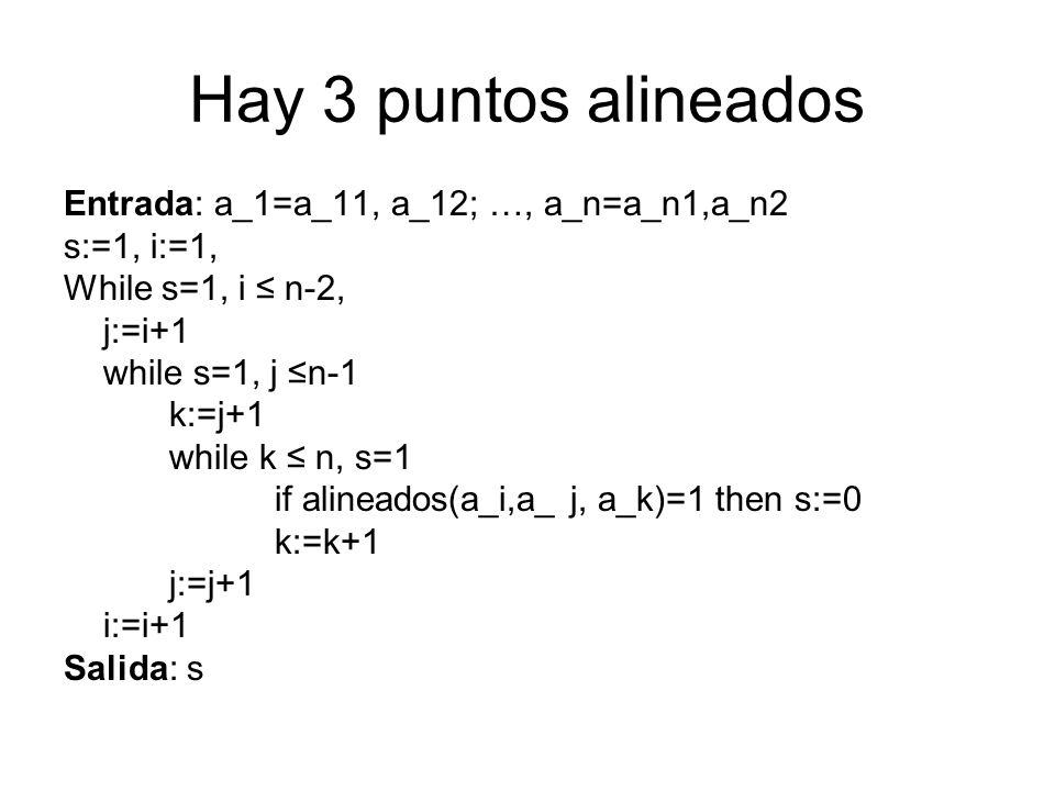 Hay 3 puntos alineados Entrada: a_1=a_11, a_12; …, a_n=a_n1,a_n2 s:=1, i:=1, While s=1, i n-2, j:=i+1 while s=1, j n-1 k:=j+1 while k n, s=1 if alinea