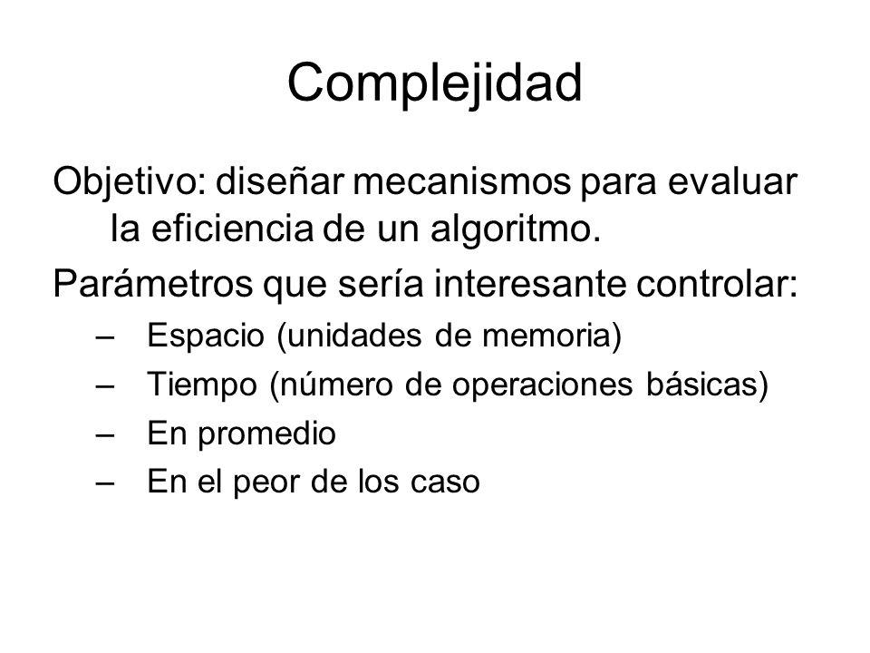 Complejidad Objetivo: diseñar mecanismos para evaluar la eficiencia de un algoritmo. Parámetros que sería interesante controlar: –Espacio (unidades de