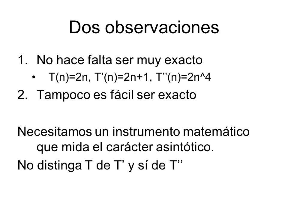 Dos observaciones 1.No hace falta ser muy exacto T(n)=2n, T(n)=2n+1, T(n)=2n^4 2.Tampoco es fácil ser exacto Necesitamos un instrumento matemático que