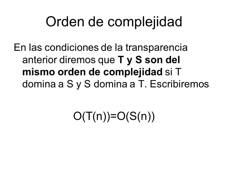 Orden de complejidad En las condiciones de la transparencia anterior diremos que T y S son del mismo orden de complejidad si T domina a S y S domina a