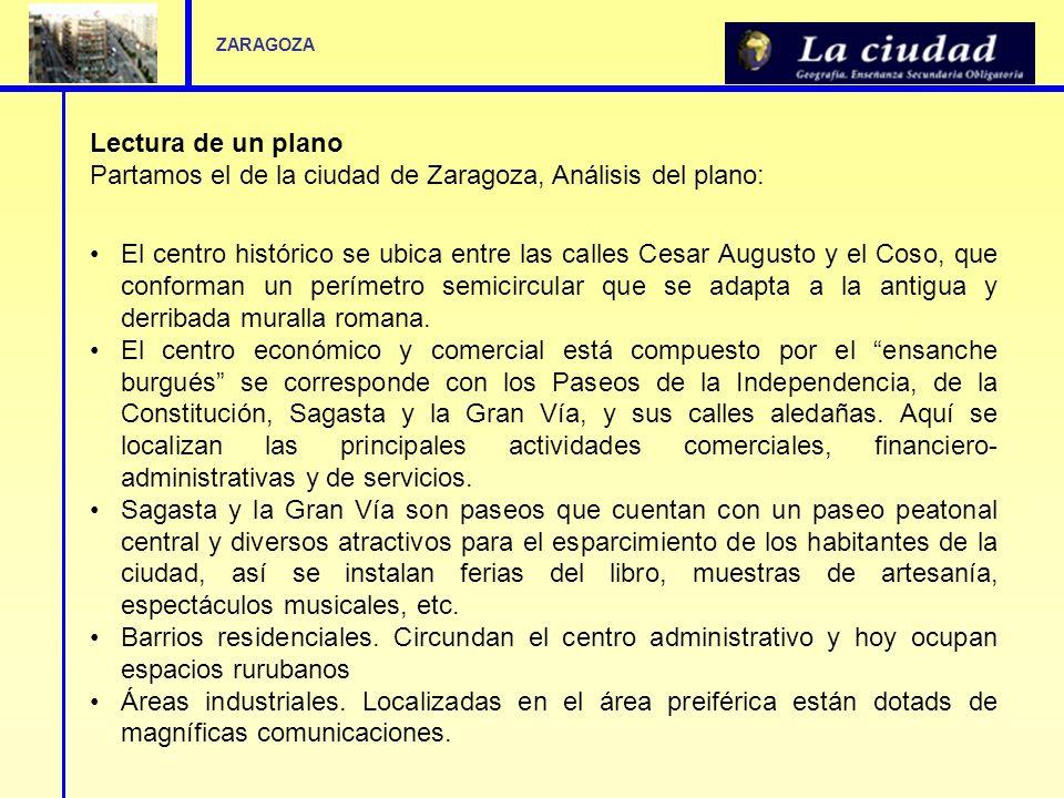 Lectura de un plano Partamos el de la ciudad de Zaragoza, Análisis del plano: El centro histórico se ubica entre las calles Cesar Augusto y el Coso, q