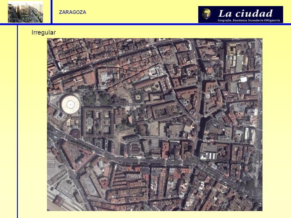 Lectura de un plano Partamos el de la ciudad de Zaragoza, Análisis del plano: El centro histórico se ubica entre las calles Cesar Augusto y el Coso, que conforman un perímetro semicircular que se adapta a la antigua y derribada muralla romana.