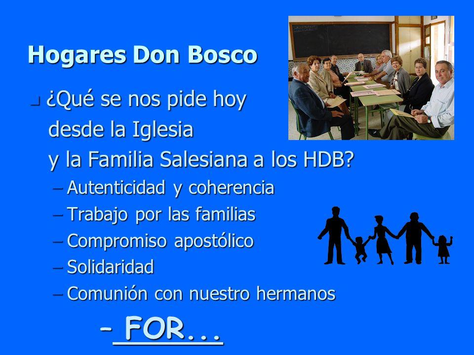 Hogares Don Bosco n ¿Qué se nos pide hoy desde la Iglesia desde la Iglesia y la Familia Salesiana a los HDB? y la Familia Salesiana a los HDB? –Autent