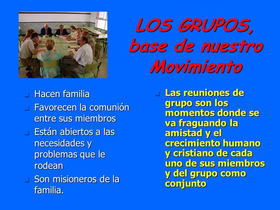 LOS GRUPOS, base de nuestro Movimiento n Hacen familia n Favorecen la comunión entre sus miembros n Están abiertos a las necesidades y problemas que l