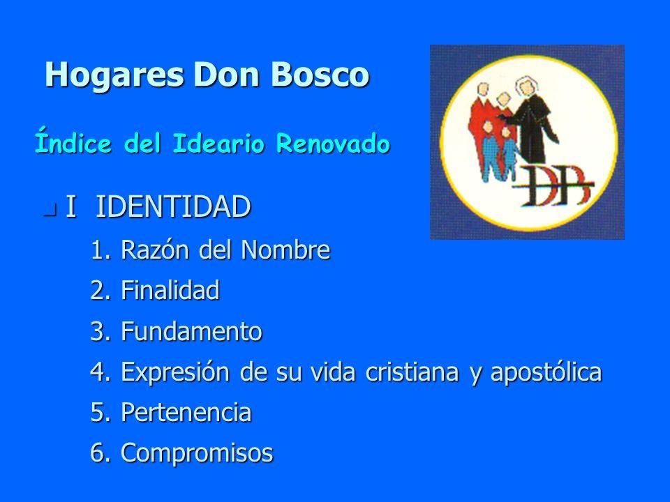 Hogares Don Bosco n I IDENTIDAD 1. Razón del Nombre 1. Razón del Nombre 2. Finalidad 2. Finalidad 3. Fundamento 3. Fundamento 4. Expresión de su vida