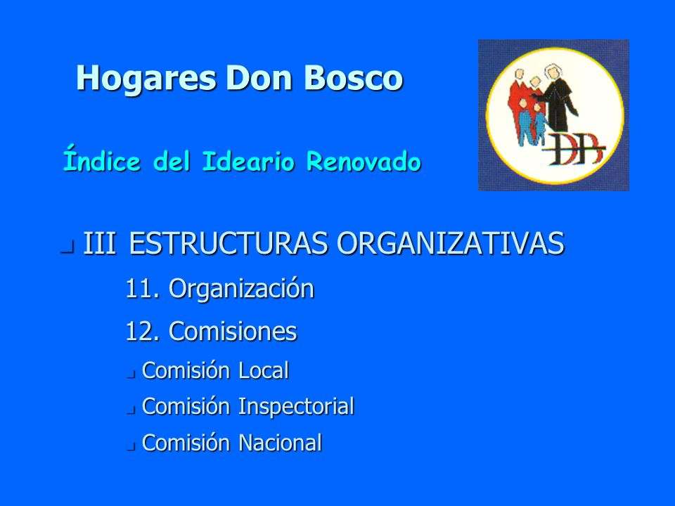Hogares Don Bosco n III ESTRUCTURAS ORGANIZATIVAS 11. Organización 11. Organización 12. Comisiones 12. Comisiones n Comisión Local n Comisión Inspecto
