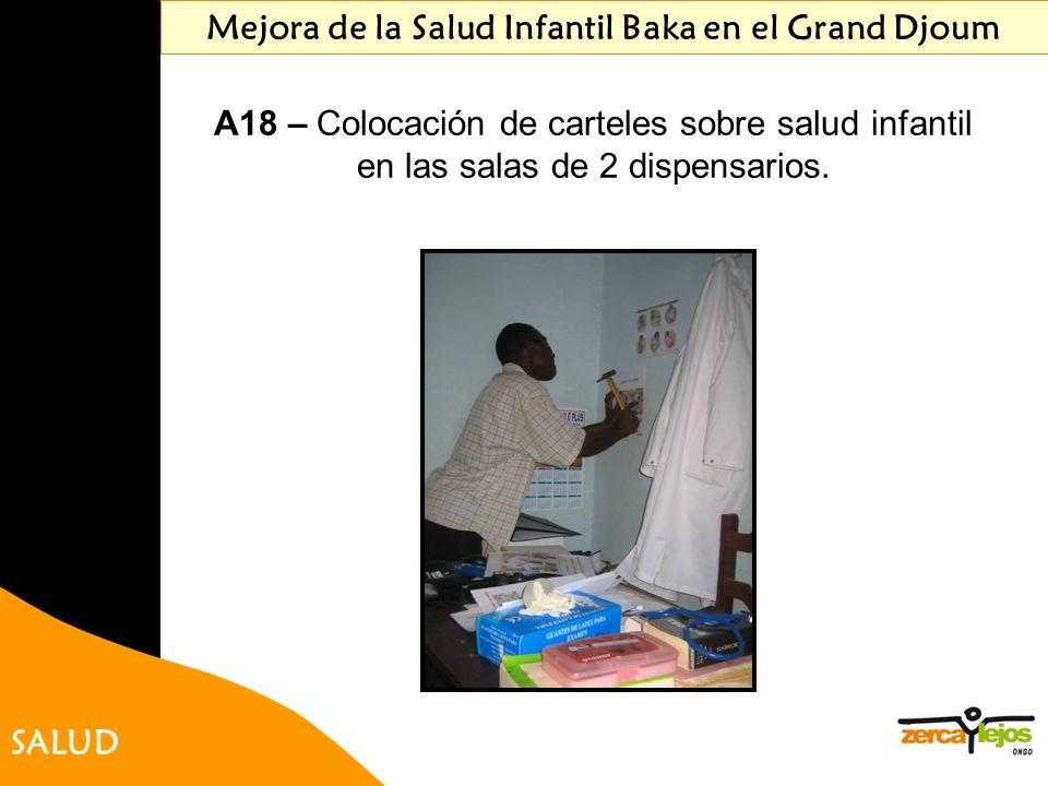 SALUD Mejora de la Salud Infantil Baka en el Grand Djoum A18 – Colocación de carteles sobre salud infantil en las salas de 2 dispensarios.