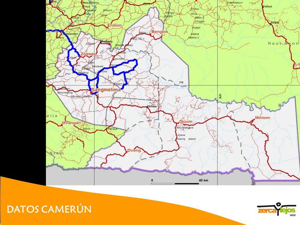 DATOS CAMERÚN Perfil de salud de Camerún 2008:http://www.who.int/gho/countries/cmr.pdf 18 millones de habitantes Esperanza de vida: 50-52 Puesto 144 (informe PNUD 2007-2008), IDH 0.532 Tasa de acceso agua potable 32.6% Inversión en salud: 80 $/persona/año, (5,2% del PIB) 1.9 médicos /10.000 hab.