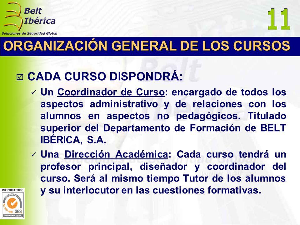 ORGANIZACIÓN GENERAL DE LOS CURSOS CADA CURSO DISPONDRÁ: Un Coordinador de Curso: encargado de todos los aspectos administrativo y de relaciones con l