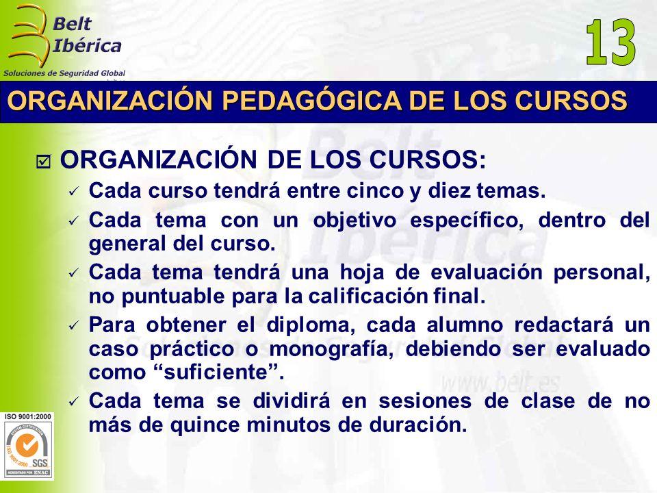 ORGANIZACIÓN PEDAGÓGICA DE LOS CURSOS ORGANIZACIÓN DE LOS CURSOS: Cada curso tendrá entre cinco y diez temas. Cada tema con un objetivo específico, de