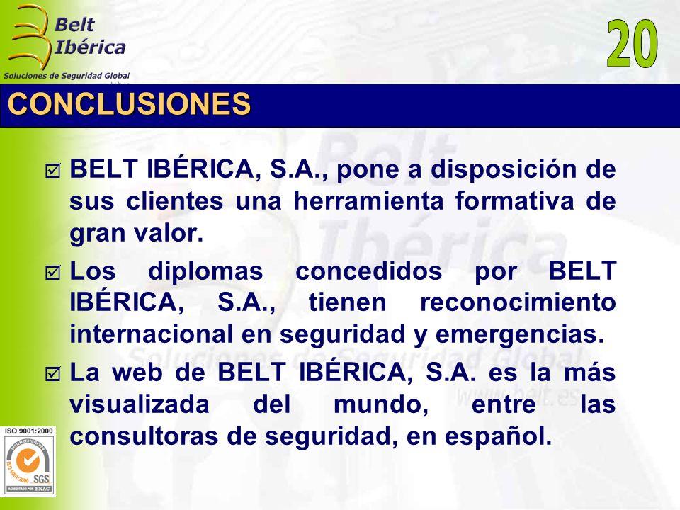 CONCLUSIONES BELT IBÉRICA, S.A., pone a disposición de sus clientes una herramienta formativa de gran valor. Los diplomas concedidos por BELT IBÉRICA,