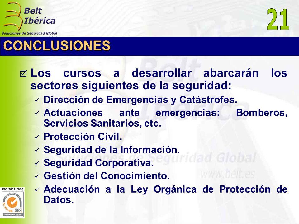 CONCLUSIONES Los cursos a desarrollar abarcarán los sectores siguientes de la seguridad: Dirección de Emergencias y Catástrofes. Actuaciones ante emer