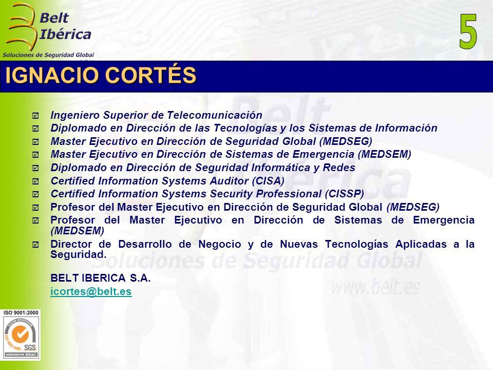 IGNACIO CORTÉS Ingeniero Superior de Telecomunicación Diplomado en Dirección de las Tecnologías y los Sistemas de Información Master Ejecutivo en Dire