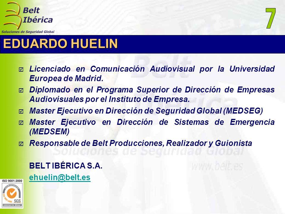 EDUARDO HUELIN Licenciado en Comunicación Audiovisual por la Universidad Europea de Madrid. Diplomado en el Programa Superior de Dirección de Empresas