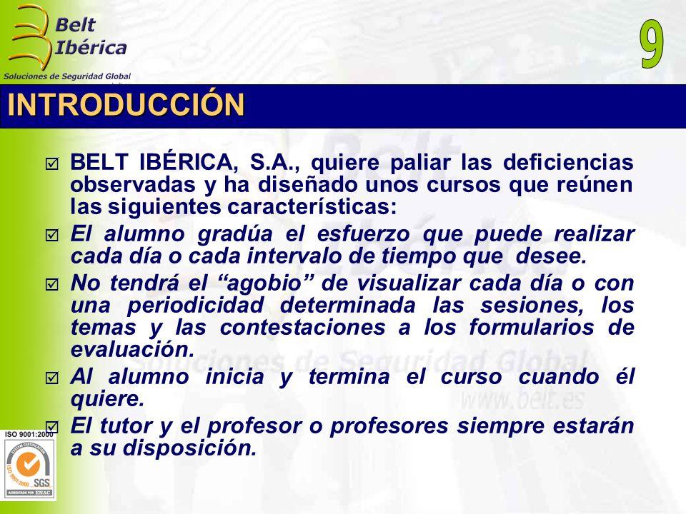 INTRODUCCIÓN BELT IBÉRICA, S.A., quiere paliar las deficiencias observadas y ha diseñado unos cursos que reúnen las siguientes características: El alu