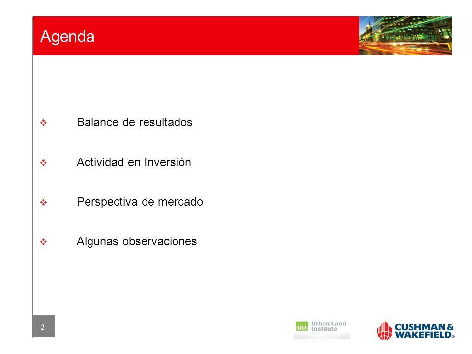2 Agenda Balance de resultados Actividad en Inversión Perspectiva de mercado Algunas observaciones