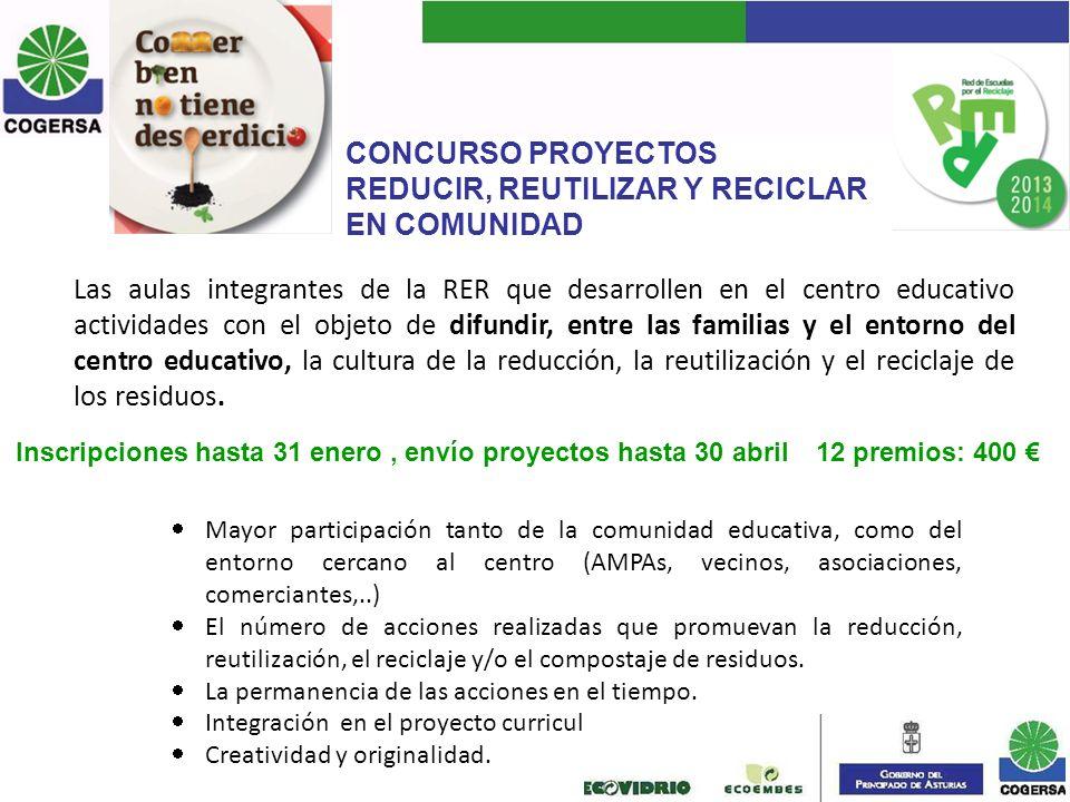 CONCURSO PROYECTOS REDUCIR, REUTILIZAR Y RECICLAR EN COMUNIDAD Mayor participación tanto de la comunidad educativa, como del entorno cercano al centro