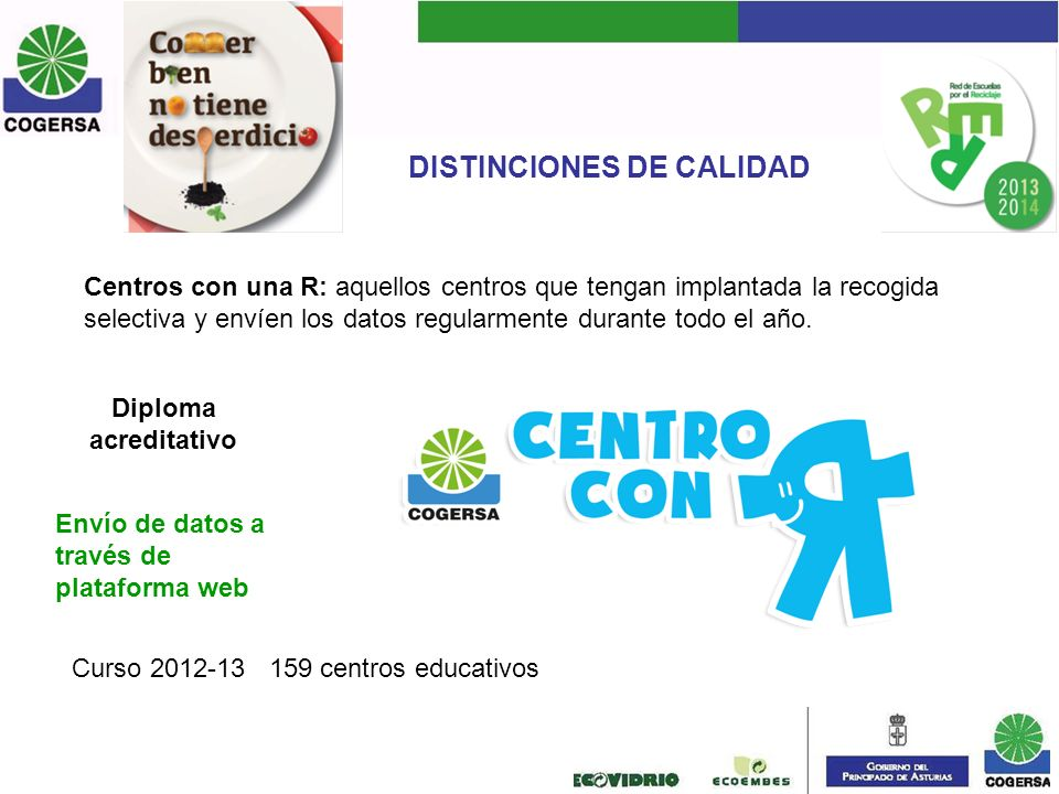 DISTINCIONES DE CALIDAD Centros con una R: aquellos centros que tengan implantada la recogida selectiva y envíen los datos regularmente durante todo e