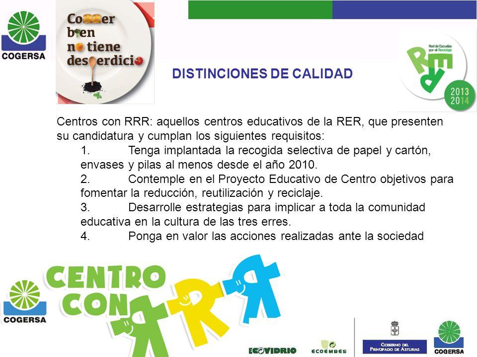 DISTINCIONES DE CALIDAD Centros con RRR: aquellos centros educativos de la RER, que presenten su candidatura y cumplan los siguientes requisitos: 1.Te