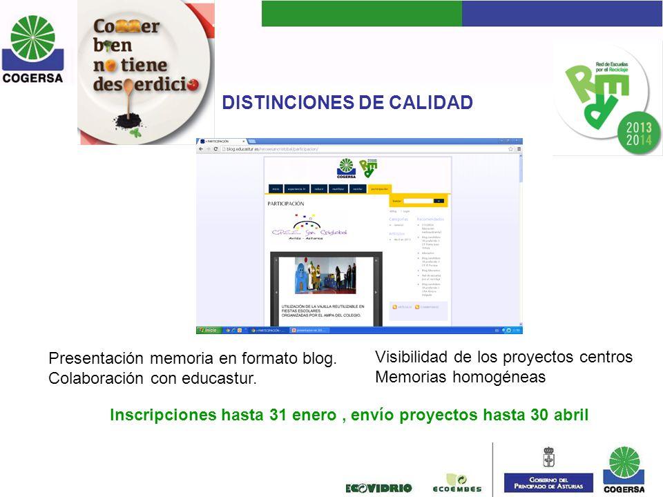 DISTINCIONES DE CALIDAD Presentación memoria en formato blog. Colaboración con educastur. Visibilidad de los proyectos centros Memorias homogéneas Ins