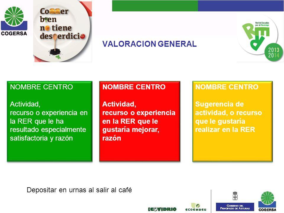VALORACION GENERAL NOMBRE CENTRO Actividad, recurso o experiencia en la RER que le ha resultado especialmente satisfactoria y razón NOMBRE CENTRO Acti