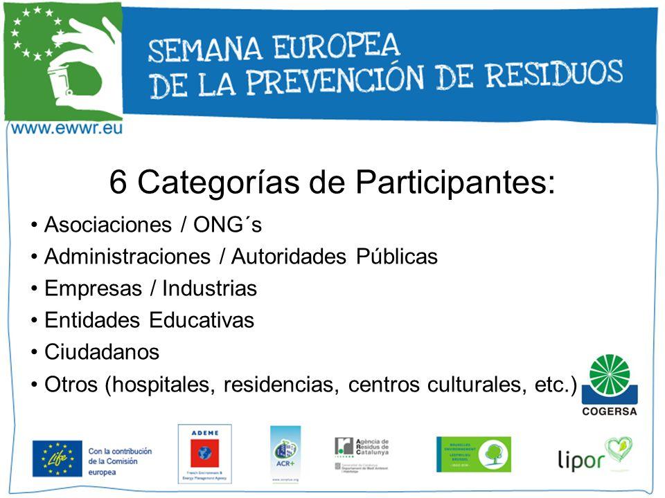 6 Categorías de Participantes: Asociaciones / ONG´s Administraciones / Autoridades Públicas Empresas / Industrias Entidades Educativas Ciudadanos Otro