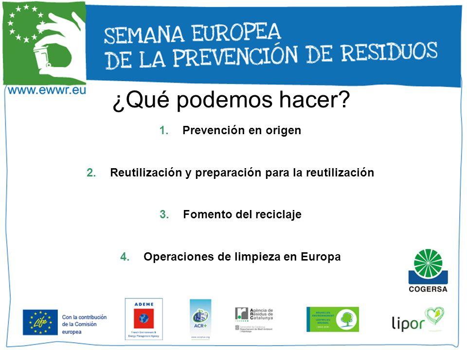 ¿Qué podemos hacer? 1.Prevención en origen 2.Reutilización y preparación para la reutilización 3.Fomento del reciclaje 4.Operaciones de limpieza en Eu