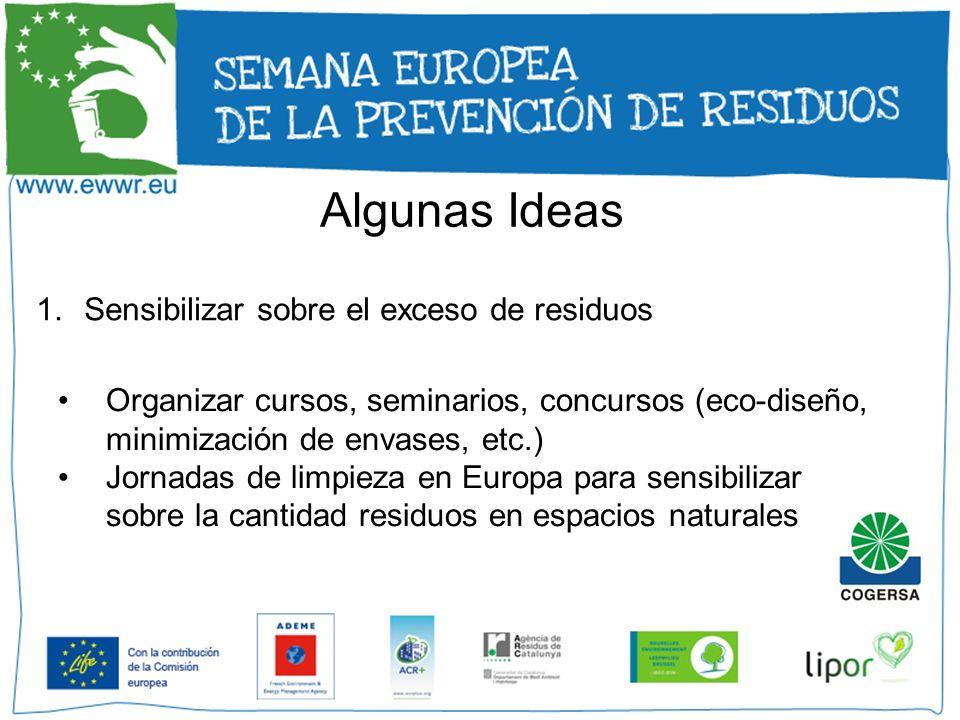 Algunas Ideas 1.Sensibilizar sobre el exceso de residuos Organizar cursos, seminarios, concursos (eco-diseño, minimización de envases, etc.) Jornadas