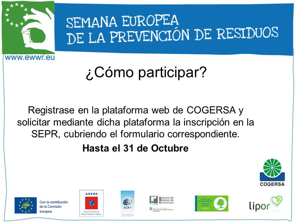 ¿Cómo participar? Registrase en la plataforma web de COGERSA y solicitar mediante dicha plataforma la inscripción en la SEPR, cubriendo el formulario