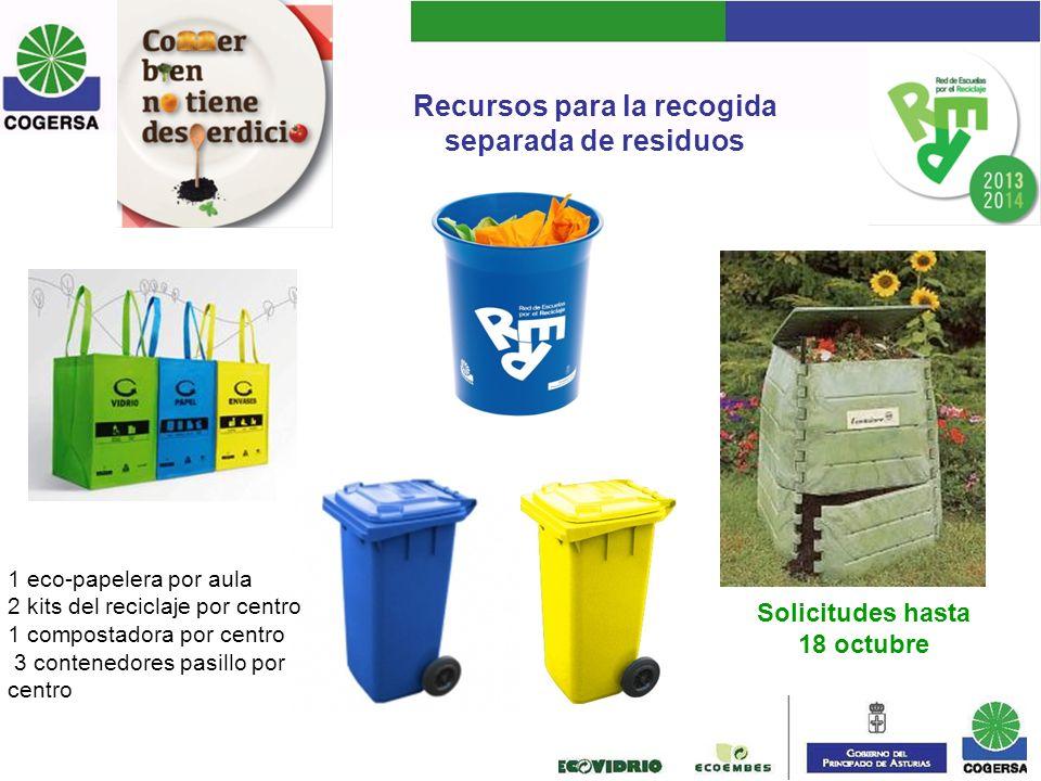 Recursos para la recogida separada de residuos 1 eco-papelera por aula 2 kits del reciclaje por centro 1 compostadora por centro 3 contenedores pasill