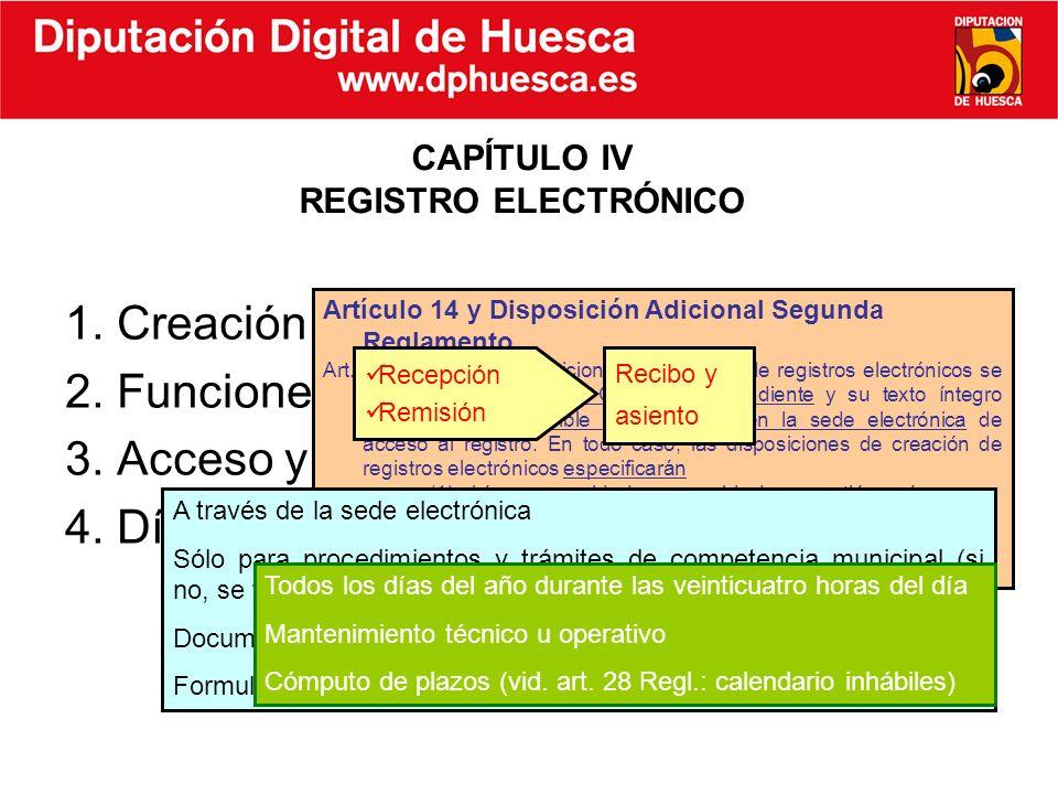 1. Creación 2. Funciones 3. Acceso y ámbito de aplicación 4. Días y horario de apertura CAPÍTULO IV REGISTRO ELECTRÓNICO Artículo 14 y Disposición Adi