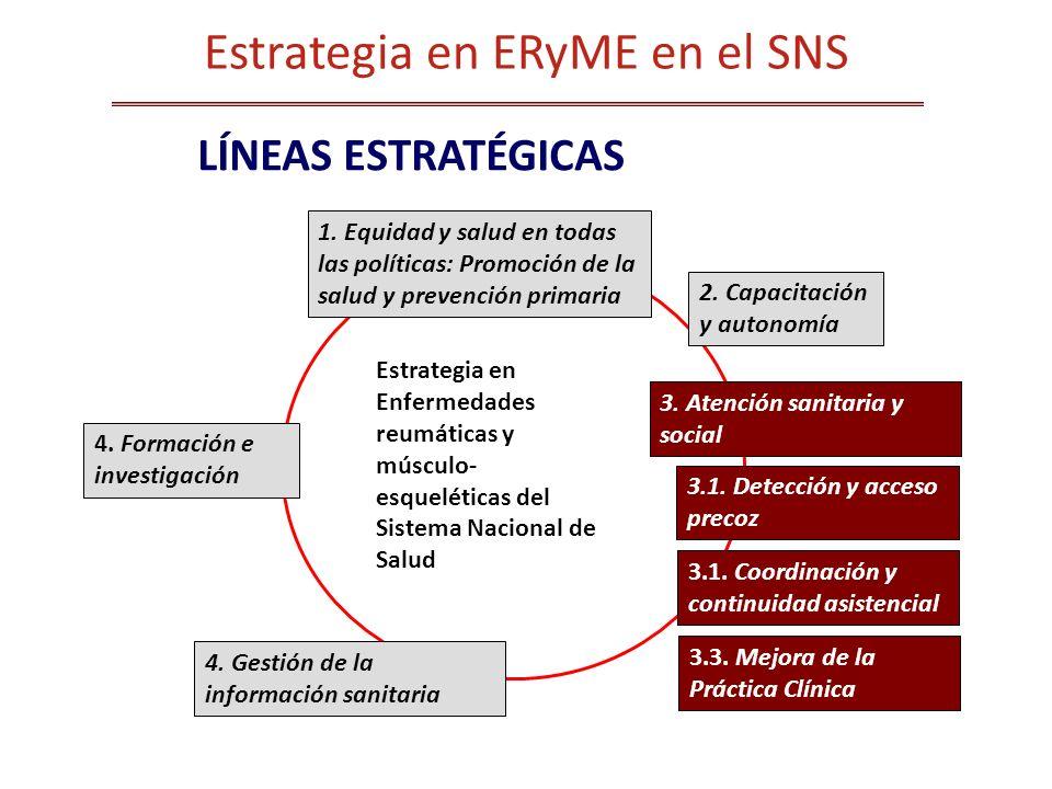 Estrategia en Enfermedades reumáticas y músculo- esqueléticas del Sistema Nacional de Salud LÍNEAS ESTRATÉGICAS Estrategia en ERyME en el SNS 1. Equid
