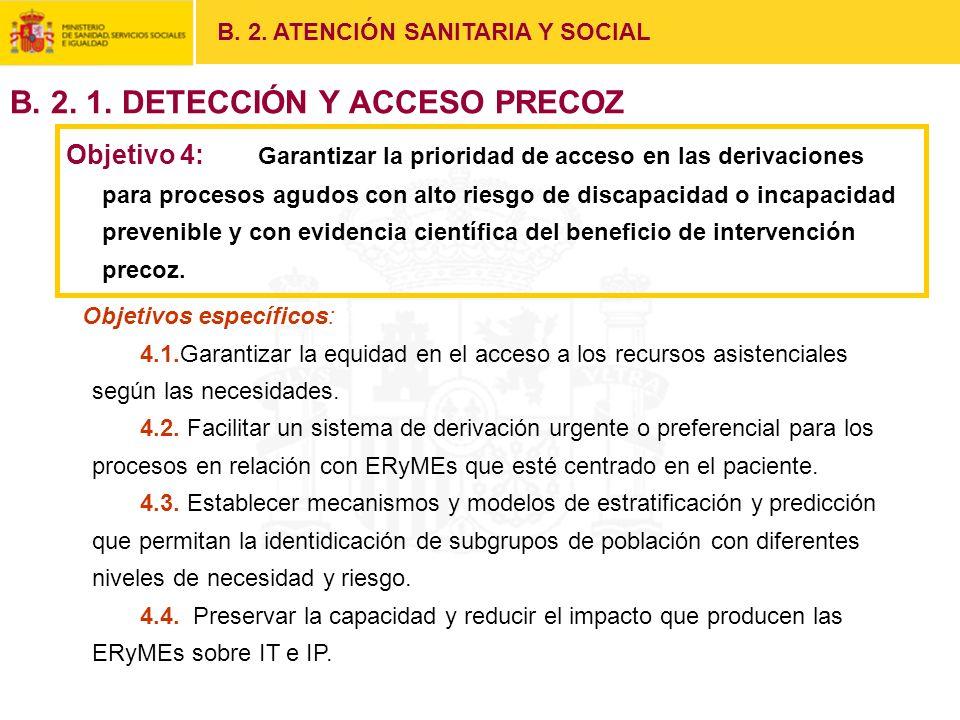Objetivo 4: Garantizar la prioridad de acceso en las derivaciones para procesos agudos con alto riesgo de discapacidad o incapacidad prevenible y con