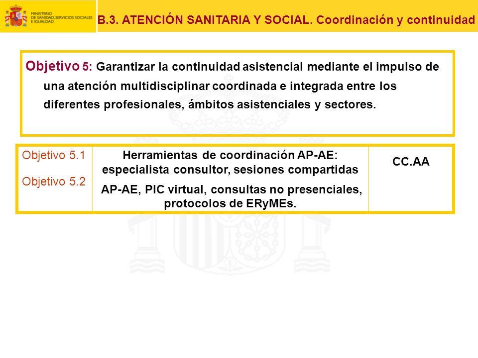 Objetivo 5.1 Objetivo 5.2 Herramientas de coordinación AP-AE: especialista consultor, sesiones compartidas AP-AE, PIC virtual, consultas no presencial