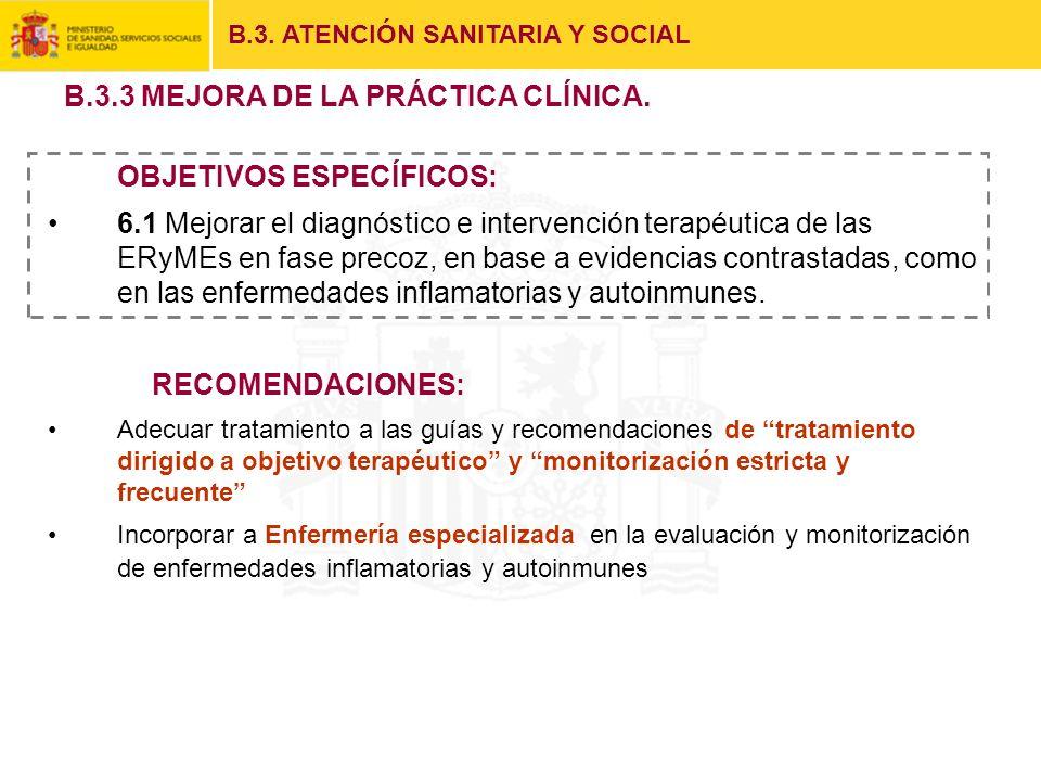 B.3. ATENCIÓN SANITARIA Y SOCIAL OBJETIVOS ESPECÍFICOS: 6.1 Mejorar el diagnóstico e intervención terapéutica de las ERyMEs en fase precoz, en base a