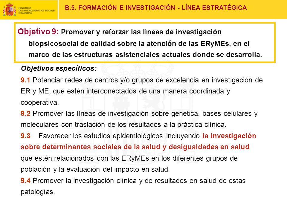 Objetivo 9: Promover y reforzar las líneas de investigación biopsicosocial de calidad sobre la atención de las ERyMEs, en el marco de las estructuras