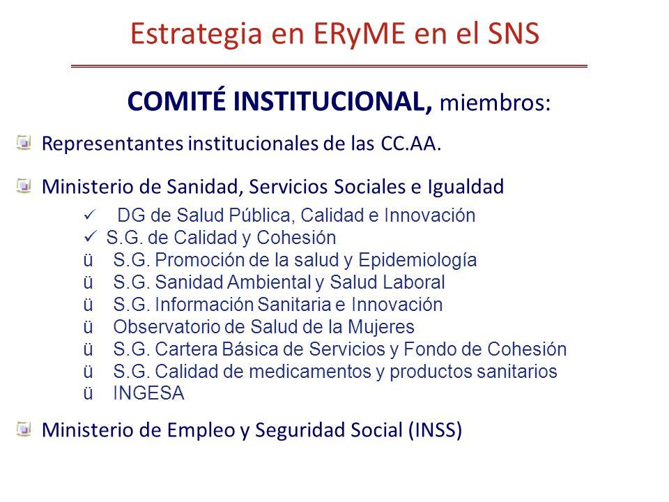 COMITÉ INSTITUCIONAL, miembros: Representantes institucionales de las CC.AA. Ministerio de Sanidad, Servicios Sociales e Igualdad DG de Salud Pública,