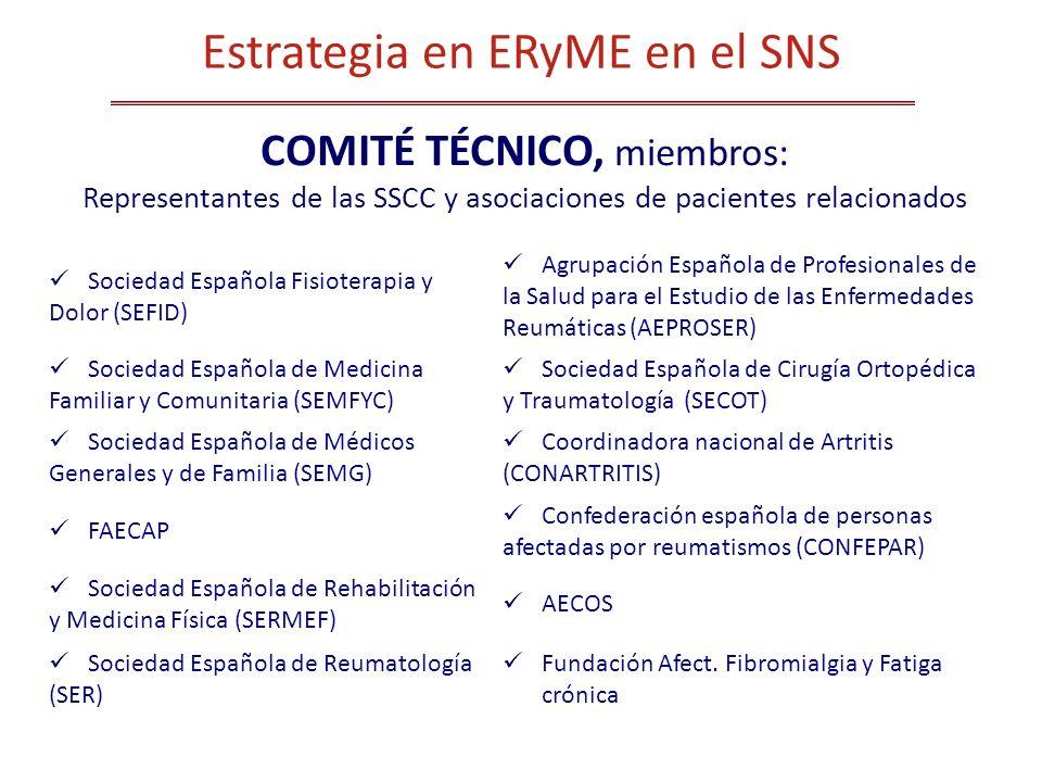COMITÉ TÉCNICO, miembros: Representantes de las SSCC y asociaciones de pacientes relacionados Sociedad Española Fisioterapia y Dolor (SEFID) Agrupació