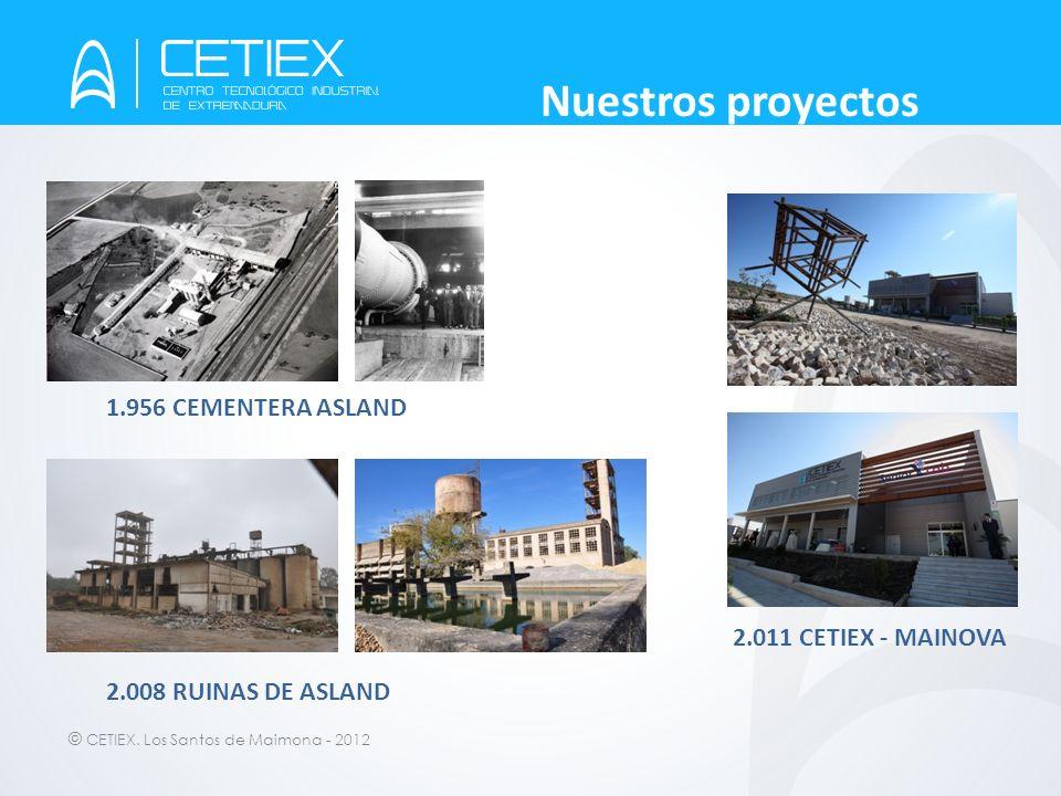 © CETIEX. Los Santos de Maimona - 2012 Nuestros proyectos 1.956 CEMENTERA ASLAND 2.008 RUINAS DE ASLAND 2.011 CETIEX - MAINOVA