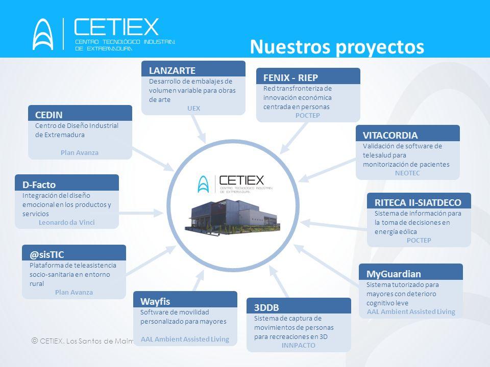 © CETIEX. Los Santos de Maimona - 2012 Nuestros proyectos CEDIN Centro de Diseño Industrial de Extremadura Plan Avanza LANZARTE Desarrollo de embalaje
