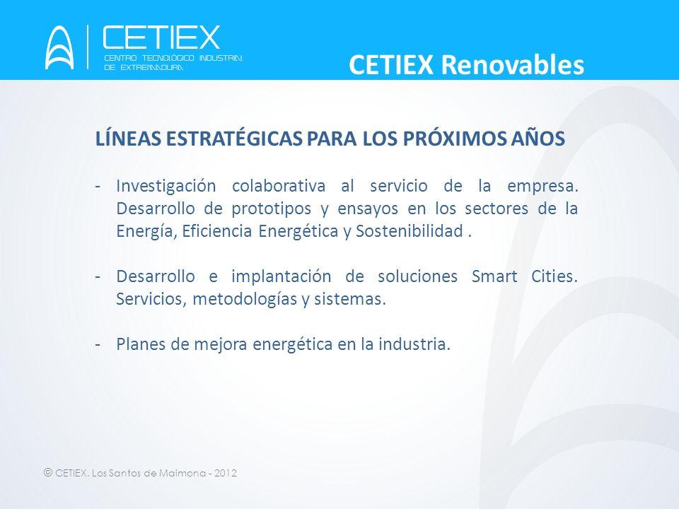 © CETIEX. Los Santos de Maimona - 2012 CETIEX Renovables LÍNEAS ESTRATÉGICAS PARA LOS PRÓXIMOS AÑOS -Investigación colaborativa al servicio de la empr