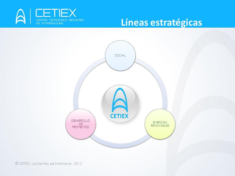 © CETIEX. Los Santos de Maimona - 2012 Líneas estratégicas CETIEX SOCIAL ENERGÍAS RENOVABLES DESARROLLO DE PROYECTOS