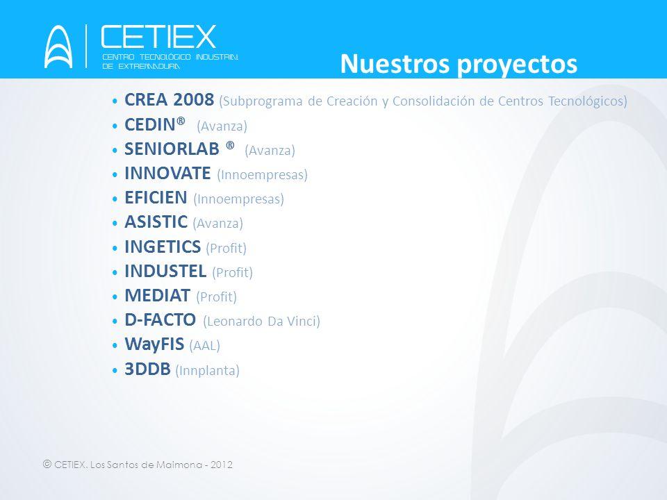 © CETIEX. Los Santos de Maimona - 2012 Nuestros proyectos CREA 2008 (Subprograma de Creación y Consolidación de Centros Tecnológicos) CEDIN® (Avanza)