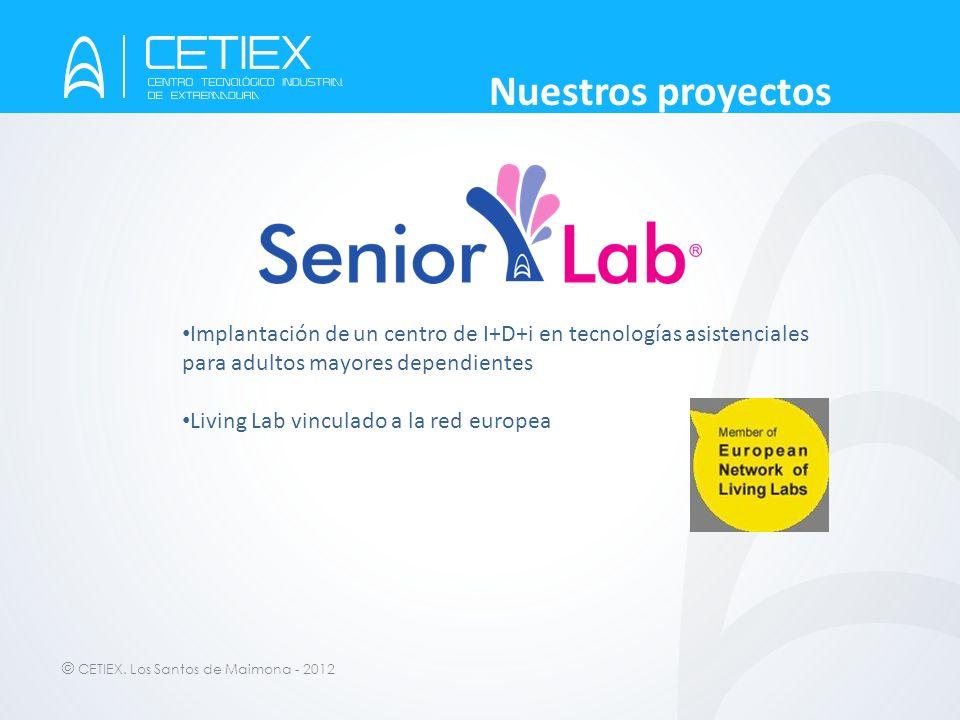 © CETIEX. Los Santos de Maimona - 2012 Nuestros proyectos Implantación de un centro de I+D+i en tecnologías asistenciales para adultos mayores dependi