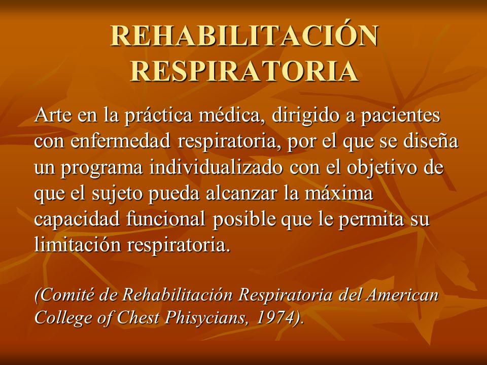Proceso a través del cual los profesionales de la salud, junto con el paciente y su familia, trabajan para conseguir una mejoría en la capacidad funcional y en la calidad de vida relacionada con la salud respiratoria del paciente, de acuerdo con sus necesidades físicas, emocionales y sociales.