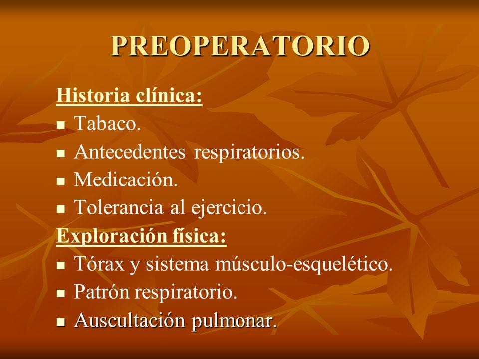PREOPERATORIO Historia clínica: Tabaco. Antecedentes respiratorios. Medicación. Tolerancia al ejercicio. Exploración física: Tórax y sistema músculo-e