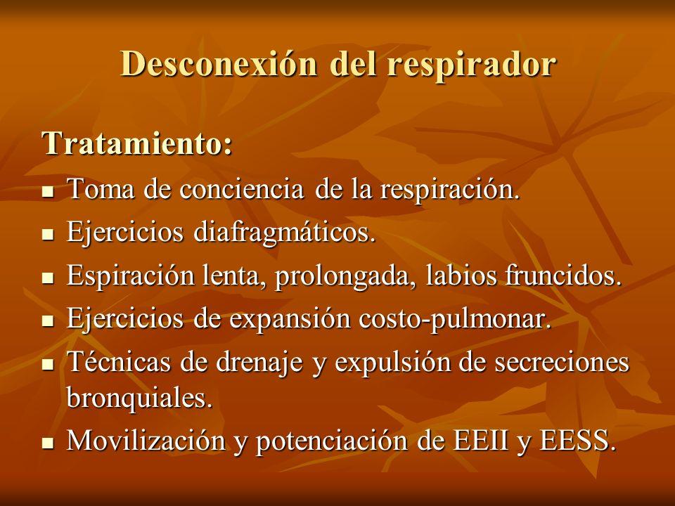 Tratamiento: Toma de conciencia de la respiración. Toma de conciencia de la respiración. Ejercicios diafragmáticos. Ejercicios diafragmáticos. Espirac
