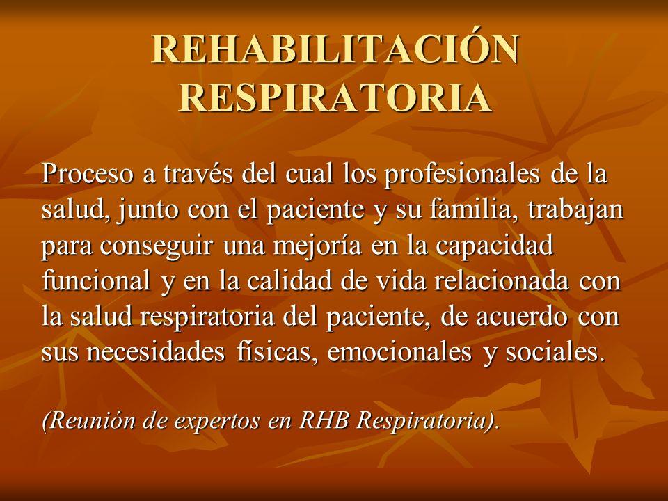 FISIOTERAPIA RESPIRATORIA Conjunto de técnicas de tipo físico, basadas en el conocimiento de la fisiopatología respiratoria, con el fin de prevenir, curar, o algunas veces tan sólo estabilizar las alteraciones que afectan al sistema tóraco-pulmonar.