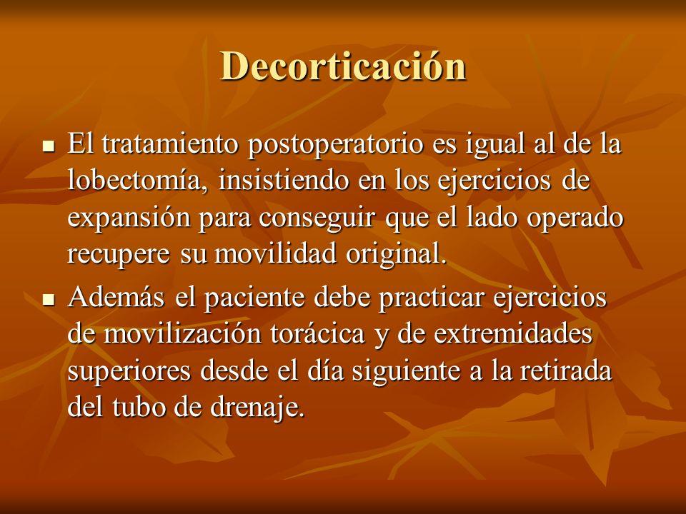 Decorticación El tratamiento postoperatorio es igual al de la lobectomía, insistiendo en los ejercicios de expansión para conseguir que el lado operad