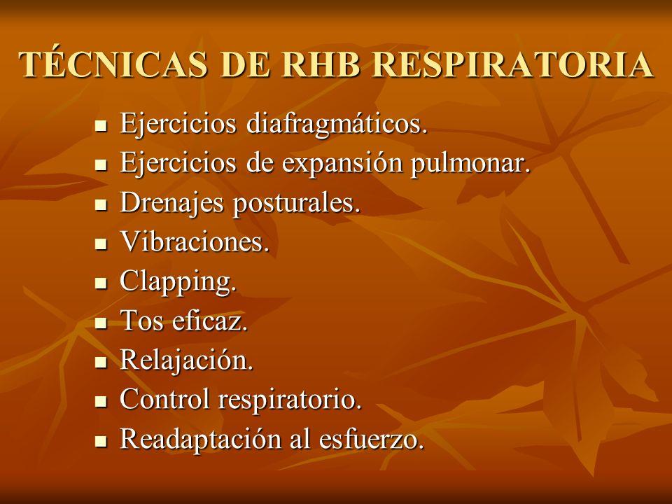 TÉCNICAS DE RHB RESPIRATORIA Ejercicios diafragmáticos. Ejercicios diafragmáticos. Ejercicios de expansión pulmonar. Ejercicios de expansión pulmonar.